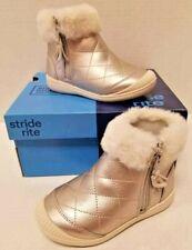 Kids Girls Stride Rite Chloe Cream Silver Toddler Size US 7M Boots NIB