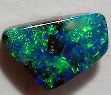 GEM Solid Boulder Opal BRIGHT GREEN BLUE 1.6ct Freeform Queensland!