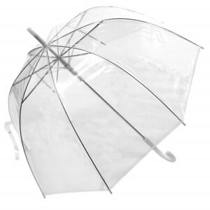 85cm Clear See Through Dome Umbrella Lady Full Transparent Walking Rain Brolly
