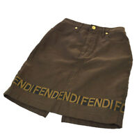 Authentic FENDI Vintage Logos Skirt Gray Brown Italy Polyester Cotton AK36813b