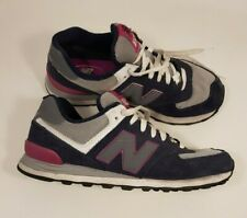 NB New Balance 574 size 8 navy blue suede / grey textile lace up trainers