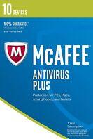 Mcafee 2017 Anti-virus Plus 1 Año 10 Usuarios para Pc/Mac OS Gratis Mejora en