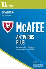 McAfee 2017 Anti-Virus Plus 1 Year 10 Users for PC/Mac OS FREE UPGRADE to 2018
