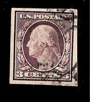 US 1909 SC# 345 3 c George Washington Imperf. Used H - Crisp Color - Centered