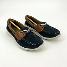 Clarks Size 7 Medium Blue Suede & Brown Leather Boat Shoes Women's