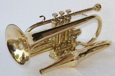 NEW CORNET TRUMPET 4 VALVE BRASS FINISH + MUTE + CASE+ M/P BEST GIFT FOR FATTHER