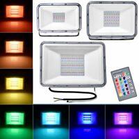 LED Flood Light 100W 50W 30W RGB Remote Control Outdoor Lamp Yard Spotlight