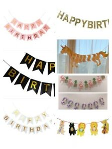 Happy Birthday Bunting Banner - Hanging Letters Party Decoration Garland Unicorn