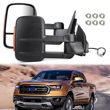 Pair Extendable Towing Mirrors Black For Ford Ranger 2012-On W/ Indicators