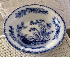 "Fine Antique English Flowblue Wash Basin Bowl ""Bamboo� Thomas Dimmock 1829-1859"