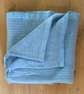 Vintage Acrylic Waffle Weave Blanket Satin Trim Baby Blue 72X87 Full EUC