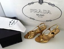 Authentic PRADA Gold Leather & Woven Rattan Wedge Heel Size 38 Exc Cond Pd. $1K