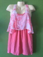 100% Silk GYPSY 05 Tie Dye Tank Dress Made In Hollywood Women's S NWT Coral