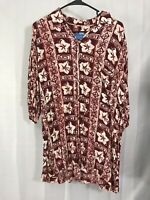 HOLO HOLO Mens Size L Red White Hawaiian Shirt Floral Button Short Sleeve Rayon