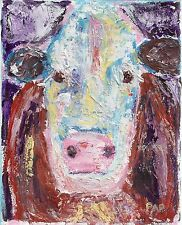 COW PAINTING Color Outsider Folk SELF TAUGHT Pappy-B COW ORIGINAL Expressionism