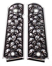 1911 fits Colt Rock Island 3D Skulls Pewter Finish Solid Aluminum Grips USA V
