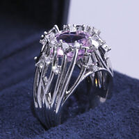 Gorgeous Rings for Women 925 Silver Jewelry Pink Sapphire Ring Size 6-10