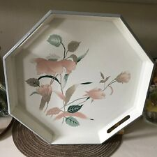 """Mikasa Cream with pink flowers """"Silk Flowers"""" Octagon Melamine Serving Tray 14"""