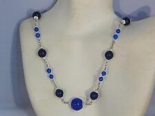 "Gemstone Necklace - Blue Sapphires and Silver plated 18"" (18 inches) - handmade"