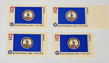 (4) Virginia State Flag U.S. 13¢ Postage Stamps Unused (1976) Scott #1642 Mnh Og