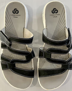 Clarks Cloudsteppers Womens Slip On Sandals Soft Cushion Gray Black Size 11