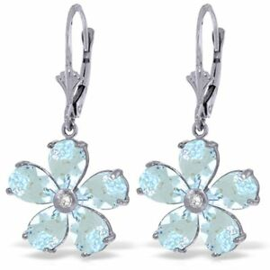 Genuine Aquamarine Gemstones & Diamond Flower Leverback Earrings 14K Solid Gold
