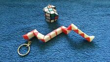 Small Collection of Vintage Keyrings - Rubiks Cube & Snake Style