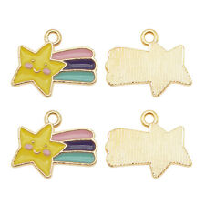 Gold Plated Alloy Enamel Colorful Meteor Pendant Charms DIY Accessories 16pcs