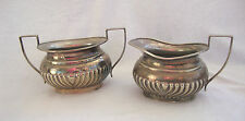 A VINTAGE / ANTIQUE SILVER PLATED EPNS SUGAR BOWL & MILK JUG CREAMER