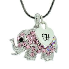 Elephant Pink Custom Letter Heart Necklace Made With Swarovski Crystal Pendant
