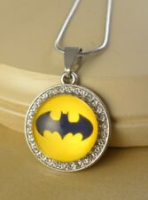 RETRO BATMAN crystal round pendant w/steel necklace jewelry gifts for women
