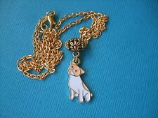 Handmade Jack Russell Necklace & Pendant Dog Metal Gold Tone Enamel Terrier Fawn