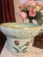 "Handmade Art Pottery Bowl Planter Signed By Artist 6""HX7.5W Hand Painted Flowers"