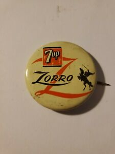 VINTAGE 1957 DISNEY 7 UP ZORRO PROMOTIONAL PINBACK PIN BACK BUTTON BADGE LITHO