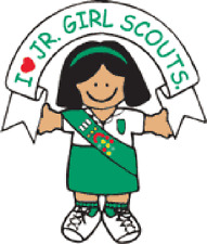 4 Junior Girl Scout Stickers #18001 Scouting I love Jr Girl Scouts Brunette