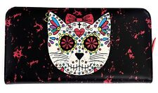 Banned Sugar Skull KITTY Muerto Bow Faux Leather Wallet Purse Gothic Black Red