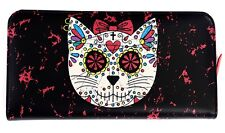 BANNED Sugar Skull Kitty muerto Bow Faux cuir porte-monnaie sac à main gothique noir rouge