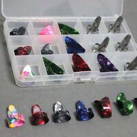15pcs Stainless Steel Celluloid Thumb Finger Guitar Picks + Case Mix Color Set