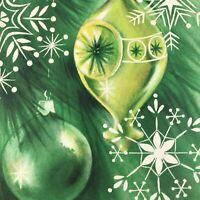Vintage Mid Century Christmas Greeting Card Hallmark Green Ornaments Snowflake