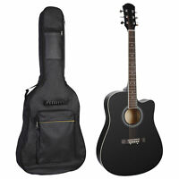 """Acoustic Guitar 41"""" Full Size Beginner with Case Strap Capo Strings Tuner Black"""