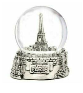 "New Silver Paris Snow Globe 2.5"""