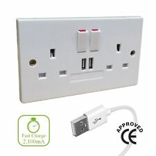 Double Plug Socket with fast Charge USB Ports CE Approved 2 Gang Electrical