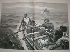 Sinking Despatches (at sea) W H Overend large naval print 1880