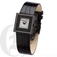 Charles Hubert Womens Leather Watch Black Square Bezel Swarovski X0201
