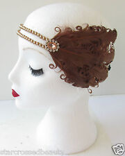 Brun Plume Coiffe Vintage 1920s Charleston Serre-tête Perle Great Gatsby L28