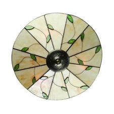 Tiffany Leaf Pattern Flush Mount Ceiling Light Stained Glass Lamp Shade Fixture