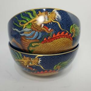 Williams Sonoma set of 2 bowls noodle Lunar New Year Dragon navy blue new