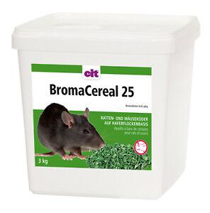 3kg Rattengift Mäusegift Schädlingsbekämpfung CIT Haferflockenköder 25 #008.043