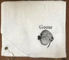 Embroidered Towel, Discus Fish & Name. Towel with hook, Fish house towel, Discus