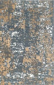 Abstract Art Area Wool Rug Hand Knotted Mocha Brown & Denim Blue 5x8 -7144